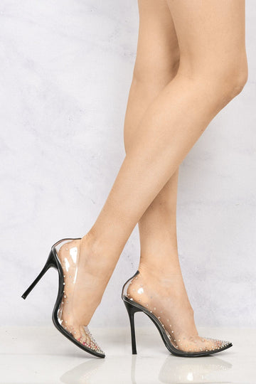 Cindy Perspex Diamante Court Shoe in Black