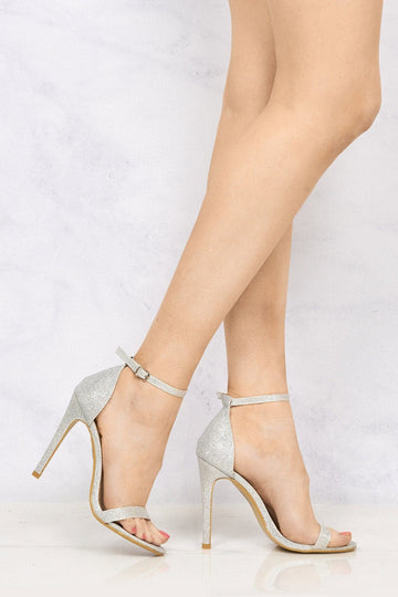 Arron Anklestrap Stilleto Sandal in Silver Mesh