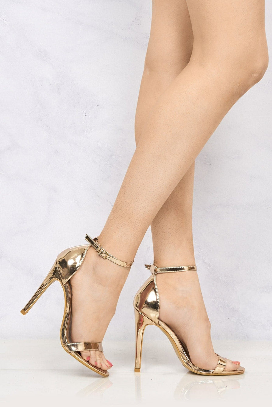 Arron ankle strap stiletto sandal in Rose Gold Heels Miss Diva ROSE GOLD 3