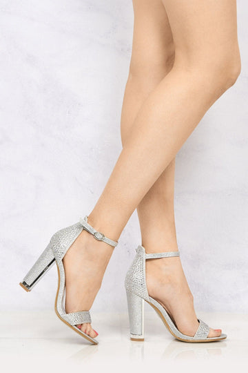 Lockie Gold Trim Heel Diamante Sandal in Silver