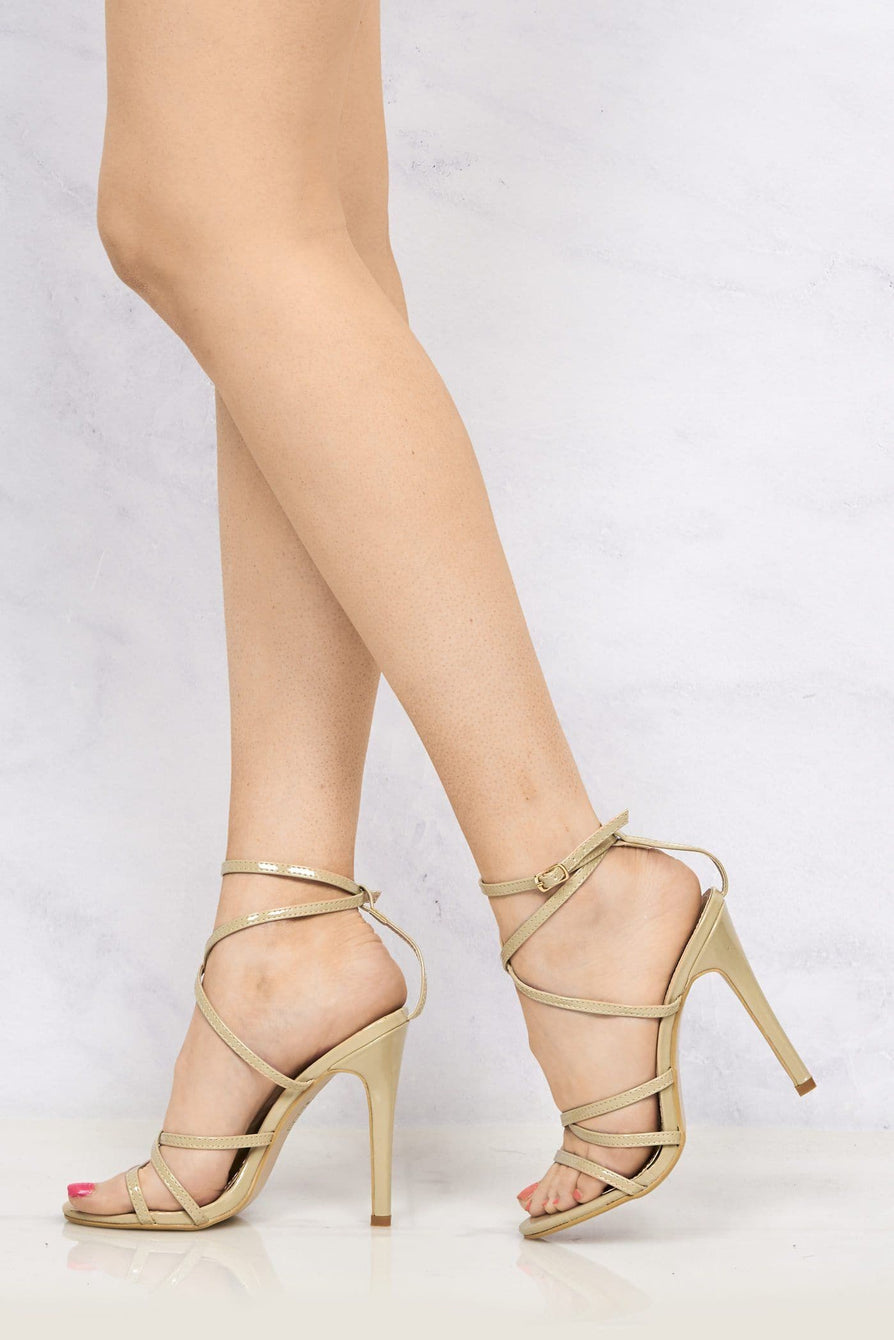 Crossover Anklestrap Sandal in Nude Patent