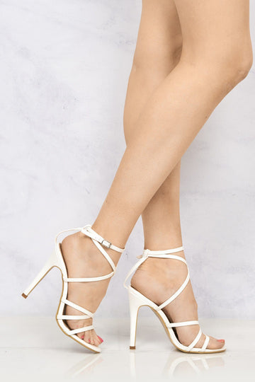 Crossover Anklestrap Sandal in White Patent