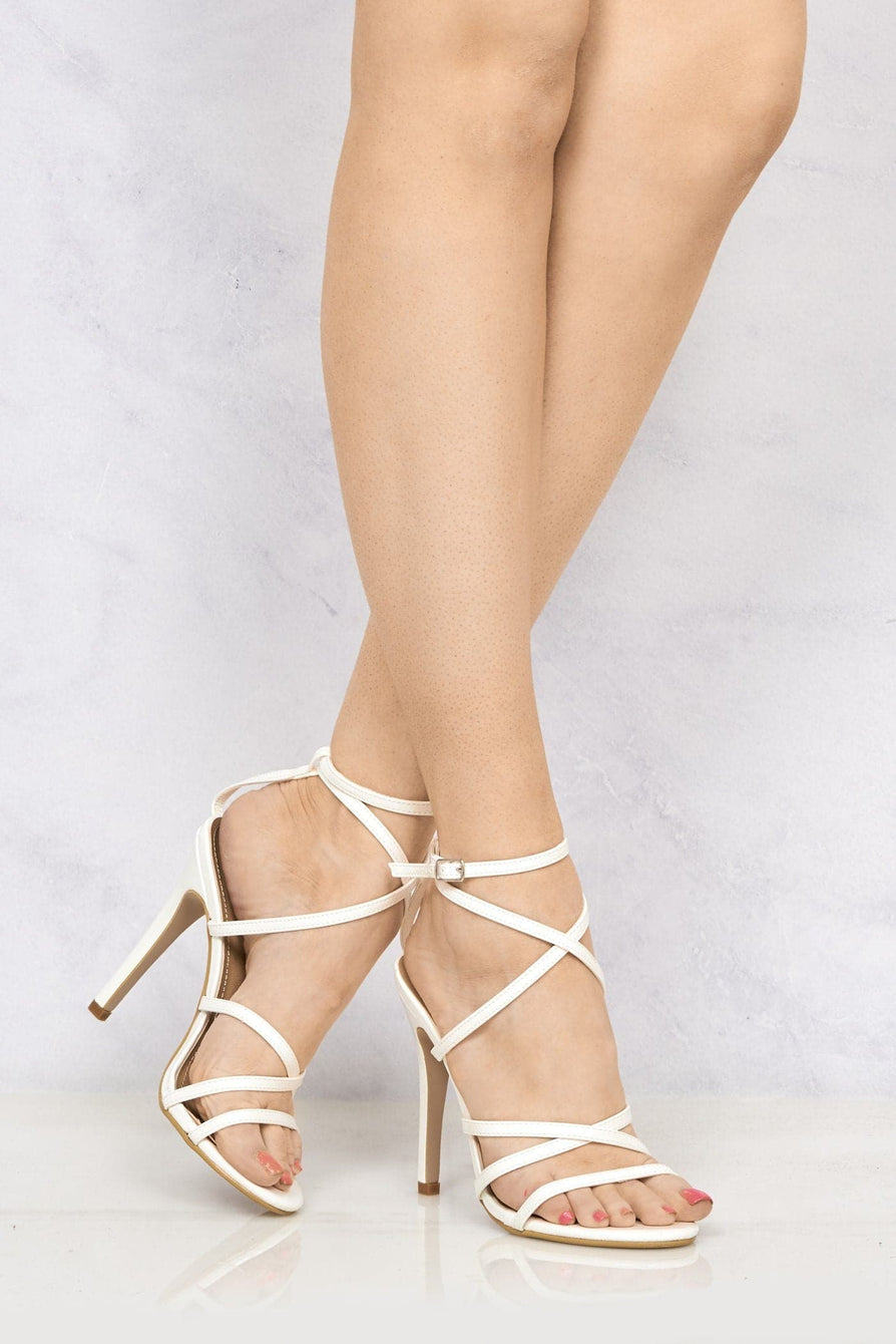 Kimberley Crossover Anklestrap Sandal in White Patent