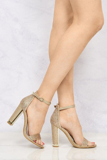 Lockie Gold Trim Heel Diamante Sandal in Champagne