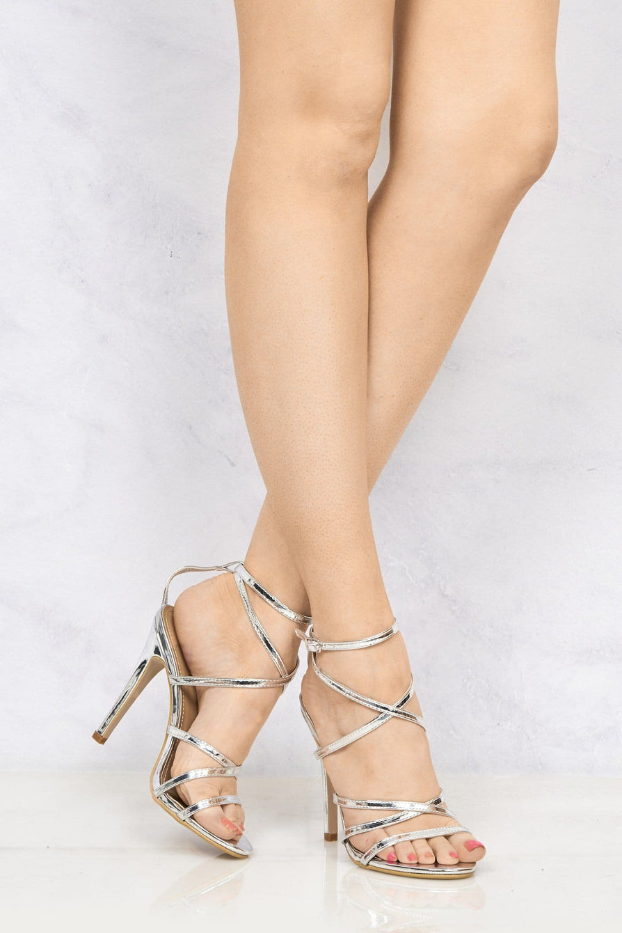 Kimberley Crossover Anklestrap Sandal in Silver