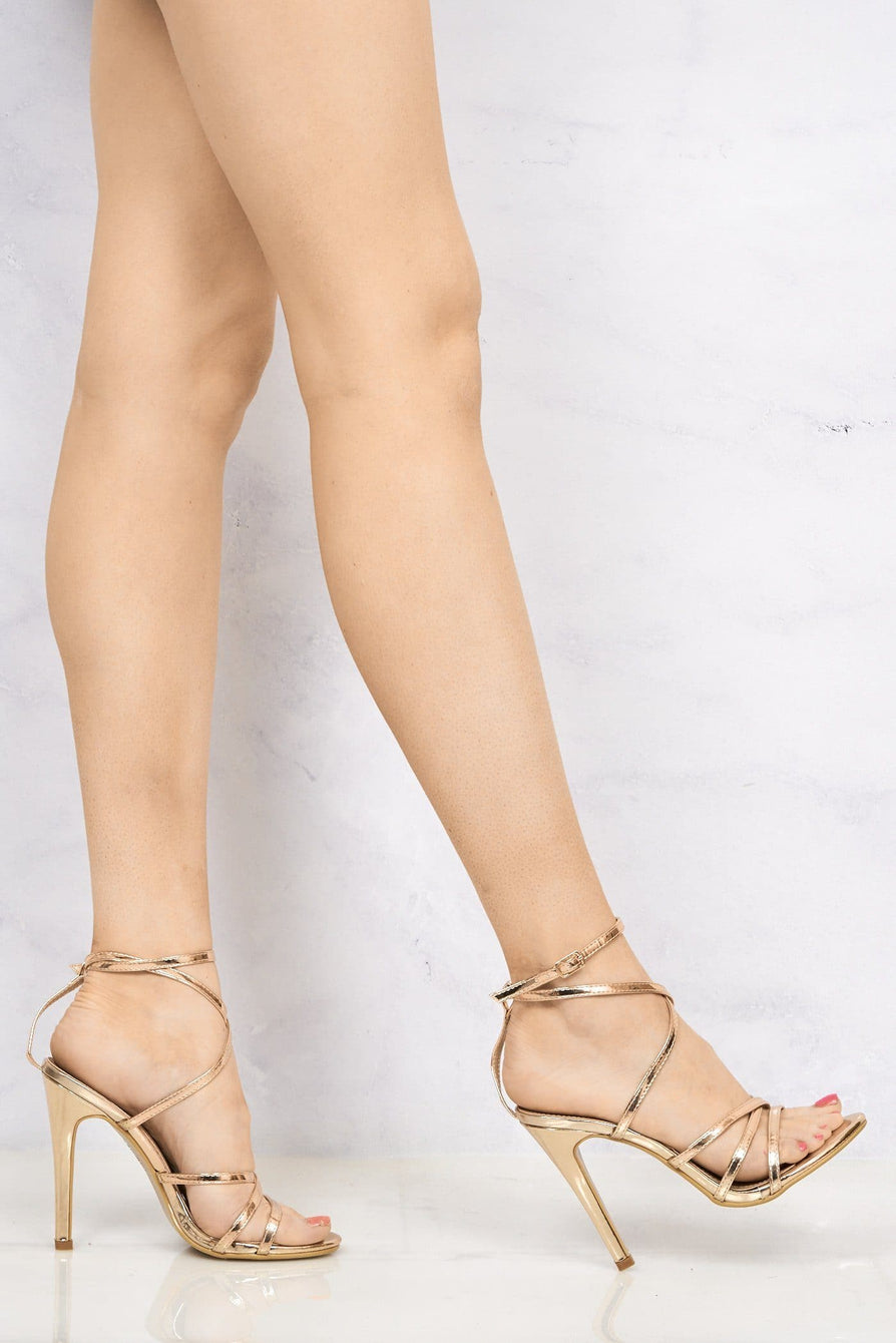 Kimberley Crossover Anklestrap Sandal in Rose Gold
