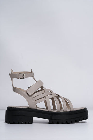 Tai Gladiator Lattice Style Sandal in Beige