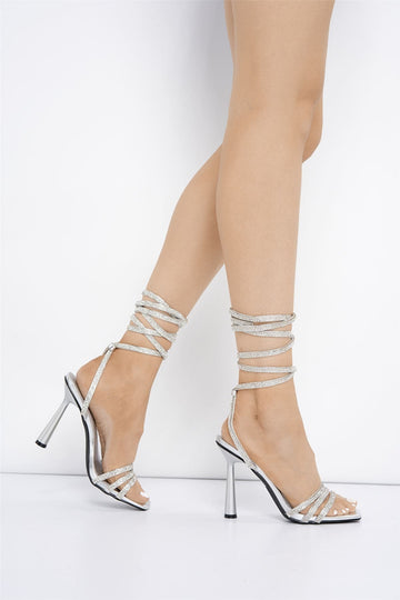 Piper Lace Up Diamante Heel in Silver