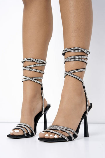 Piper Lace Up Diamante Heel in Black