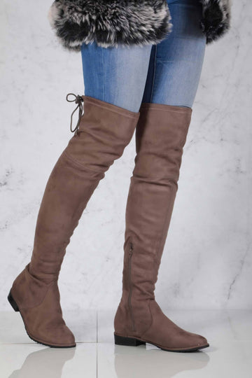 Ivy Over The Knee Tie Up Boot in Mocha Suede Clearance Miss Diva Mocha Suede 3