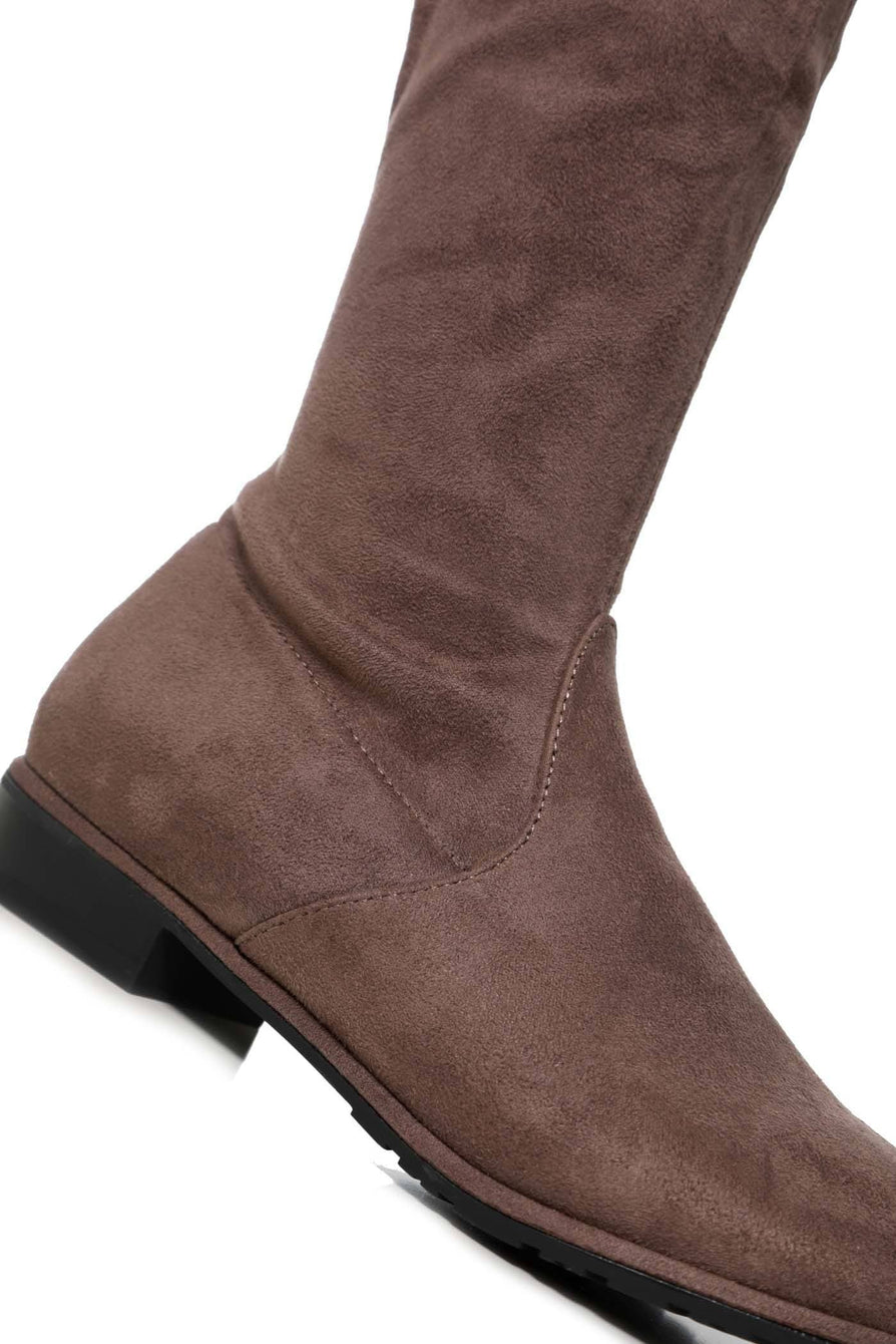 Ivy Over The Knee Tie Up Boot in Mocha Suede