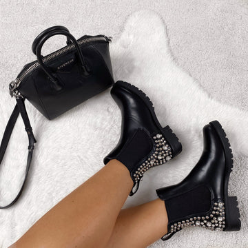 Rule Stud & Spike Detail Ankle Boot In Black Matt