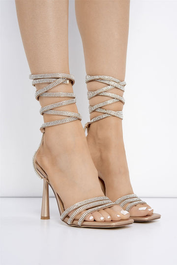 Piper Lace Up Diamante Heel in Rose Gold