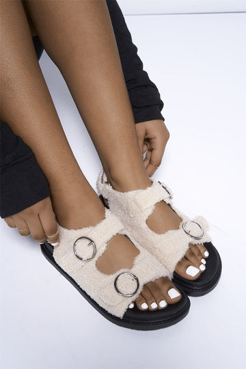 Teddy Sandal in Cream