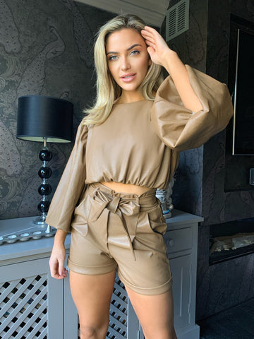 Yazi Faux Leather Long Bell Sleeves Stylish Crop top in Camel Tops Miss Diva