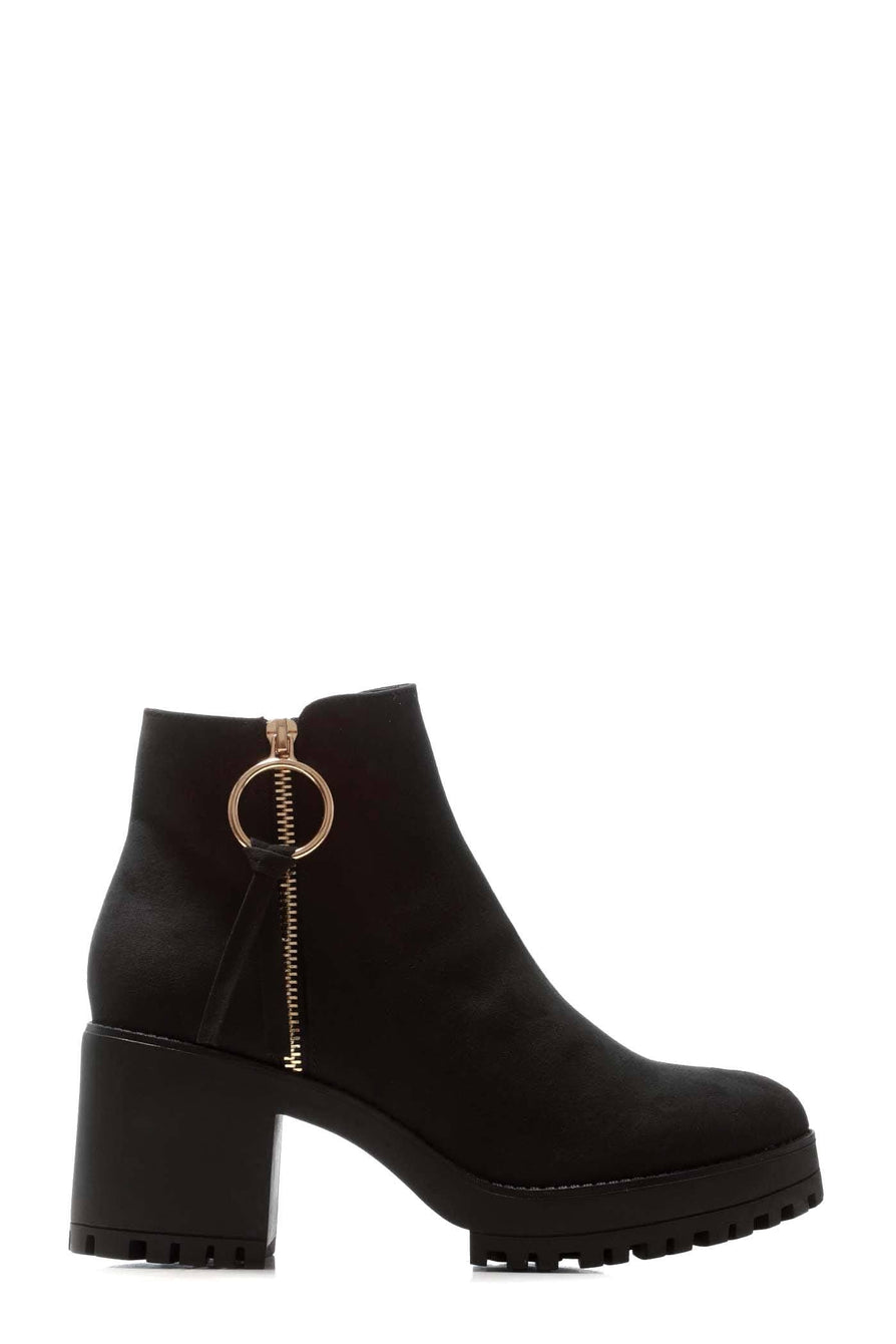 Sara Cleated Sole Ring Zip Block Heel Ankle Boot in Black Suede