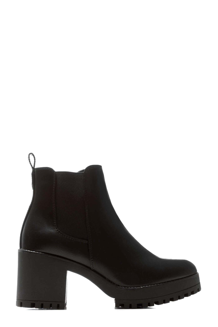 Faith Elasticated Cleated Sole Block Heel Ankle Boot in Black Matt