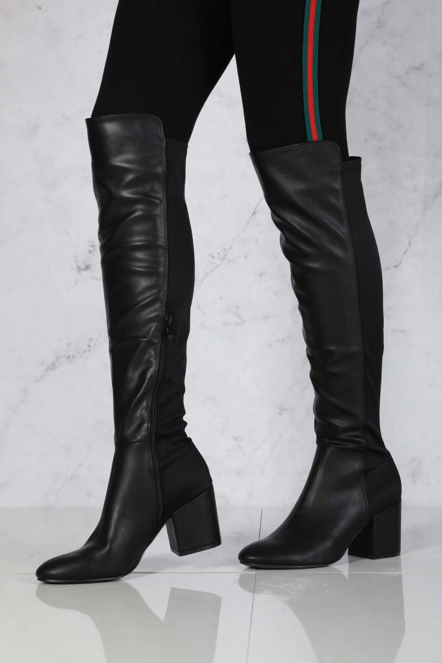 Ivy Blockheel Over Knee Boot in Black Matt
