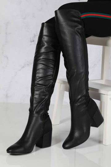 Chrissy Blockheel Over Knee Boot in Black Matt