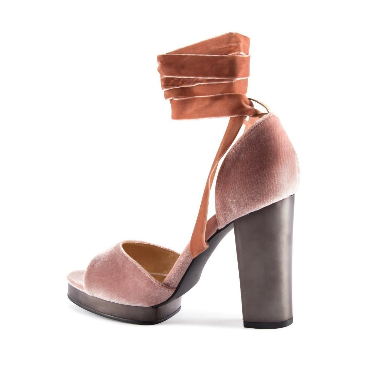 Christina block heel platform with bow in Mink