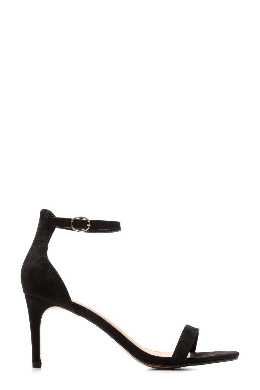 Ayda barely There Mid Stiletto Sandal In Black Suedette