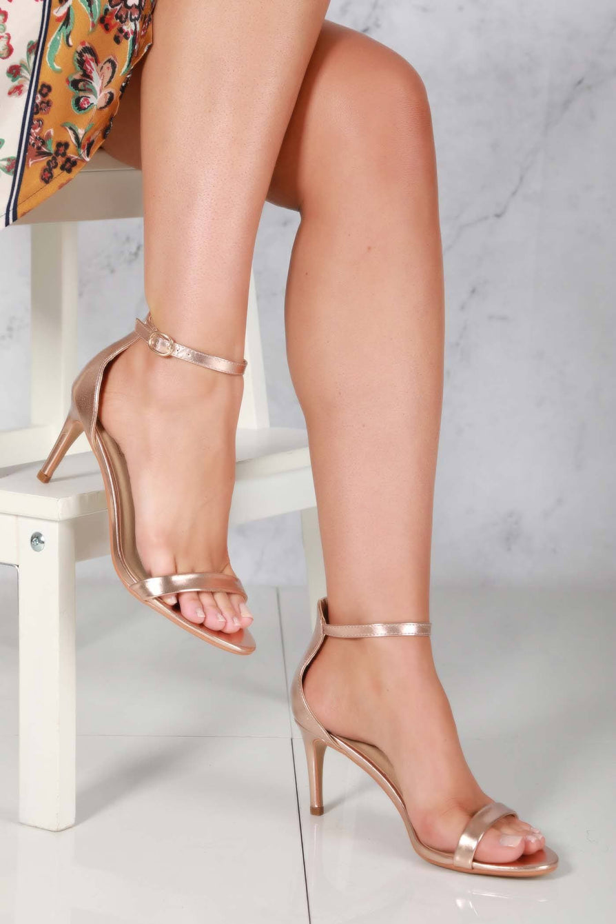 Ayda barely there mid stiletto sandal in Rose Gold