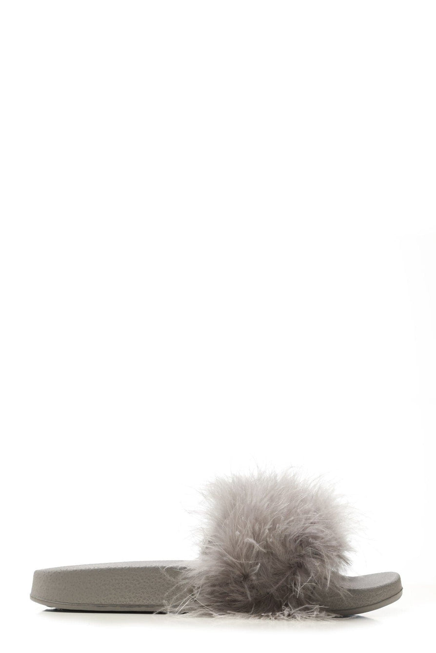 Dory Fluffy Feathered Slider in Grey Flats Miss Diva Grey 3