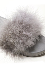 Dory Fluffy Feathered Slider in Grey Flats Miss Diva