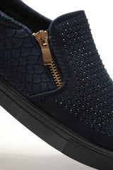 Leah Diamante Side Zip Pump in Navy Trainers Miss Diva