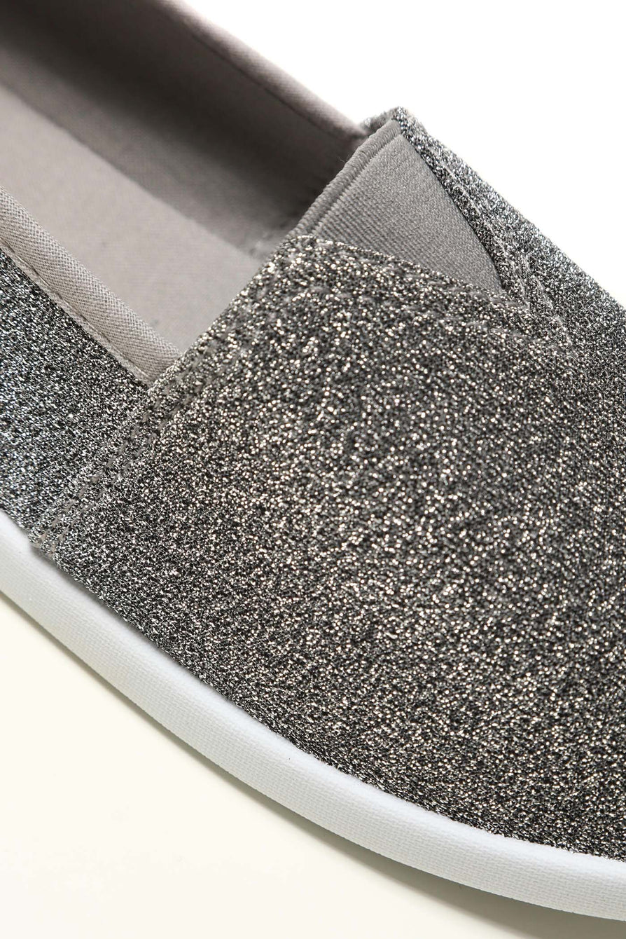 Flat Slip On Textil Pump in Dark Grey