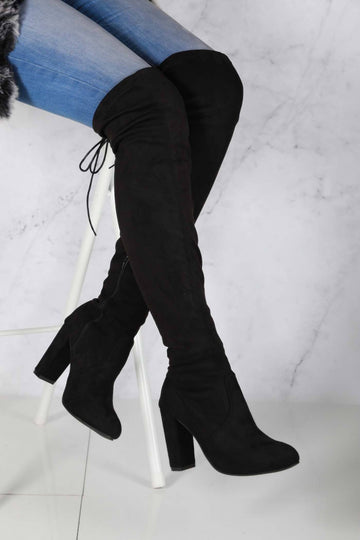 Cinda Block Heel Slim Over Knee Boot In Black Suede