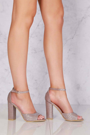 Grace block heel ankle strap sandal in Rose Gold Clearance Miss Diva