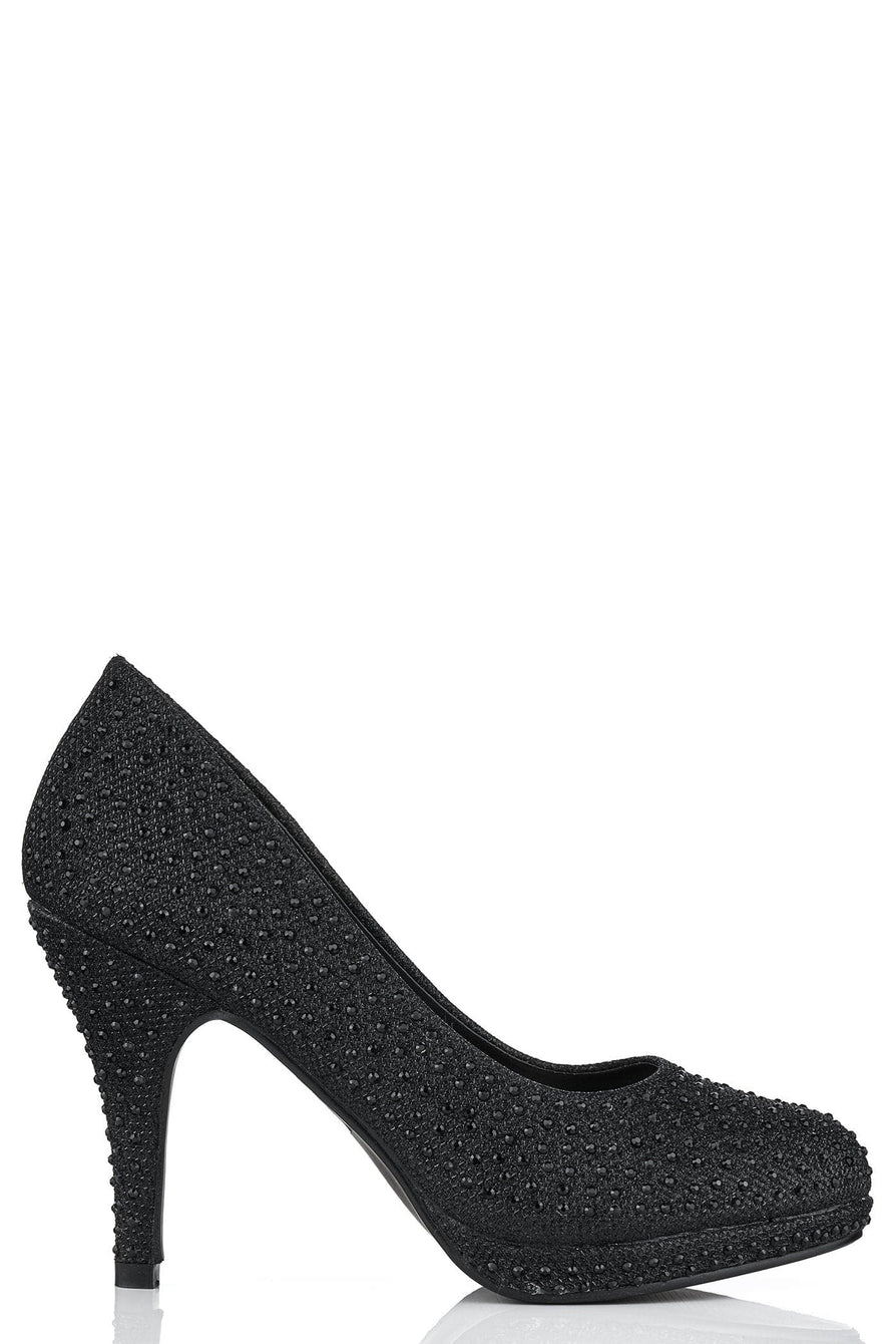 Round Toe Platform Diamante Shoe in Black Mesh