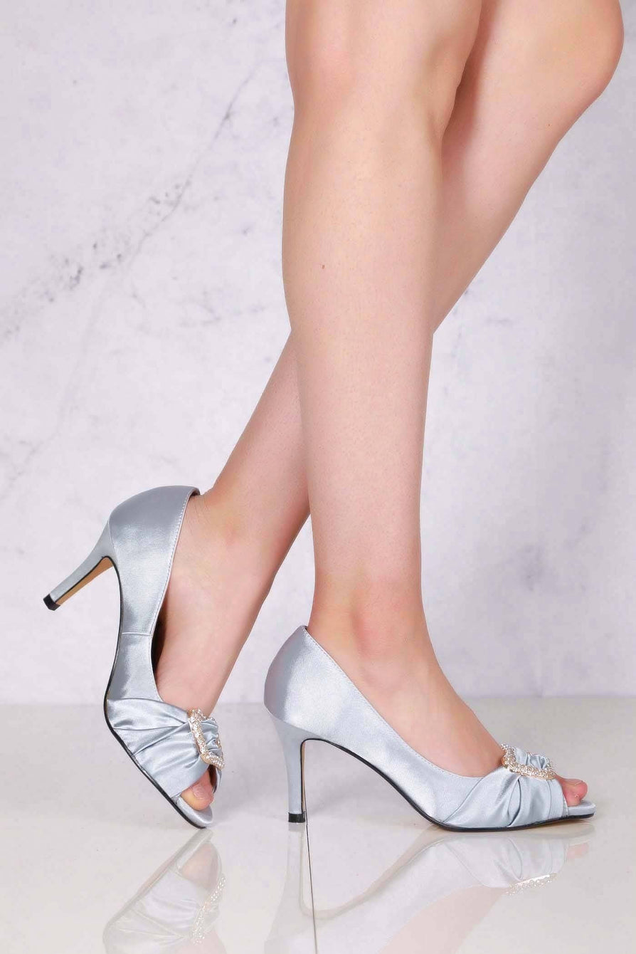 Layla high heel open toe satin broach