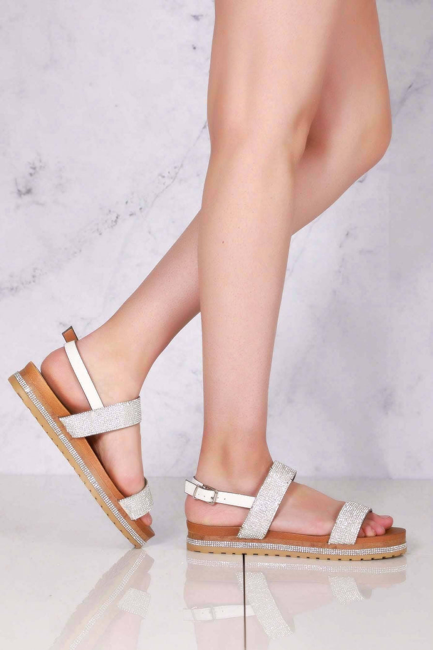 Mile slip on 2 dia straps flatform in Silver