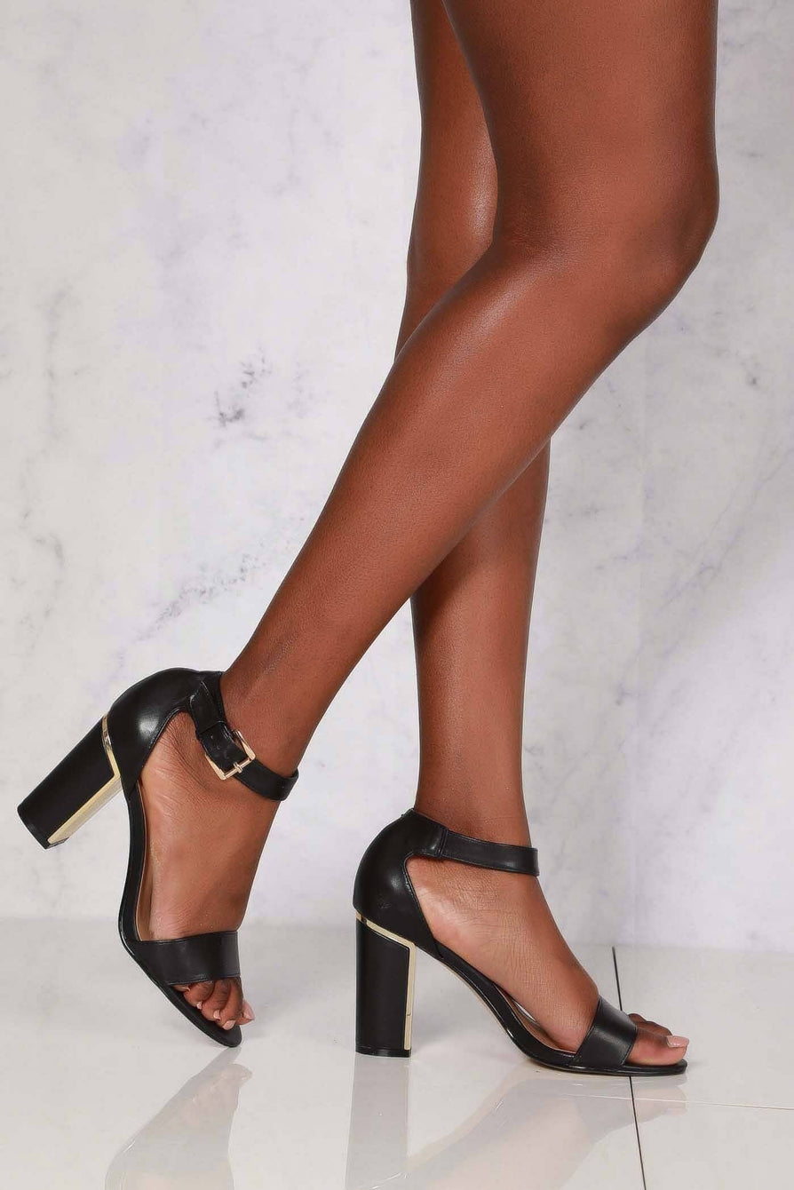 Naomi crossover ankle strap sandal in Black Pu