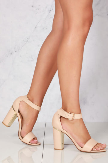 Naomi crossover ankle strap sandal in Nude Pu