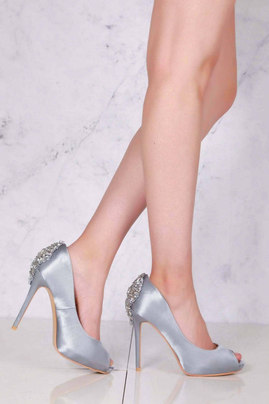 Nina peep toe with diamante gems on back in Silver