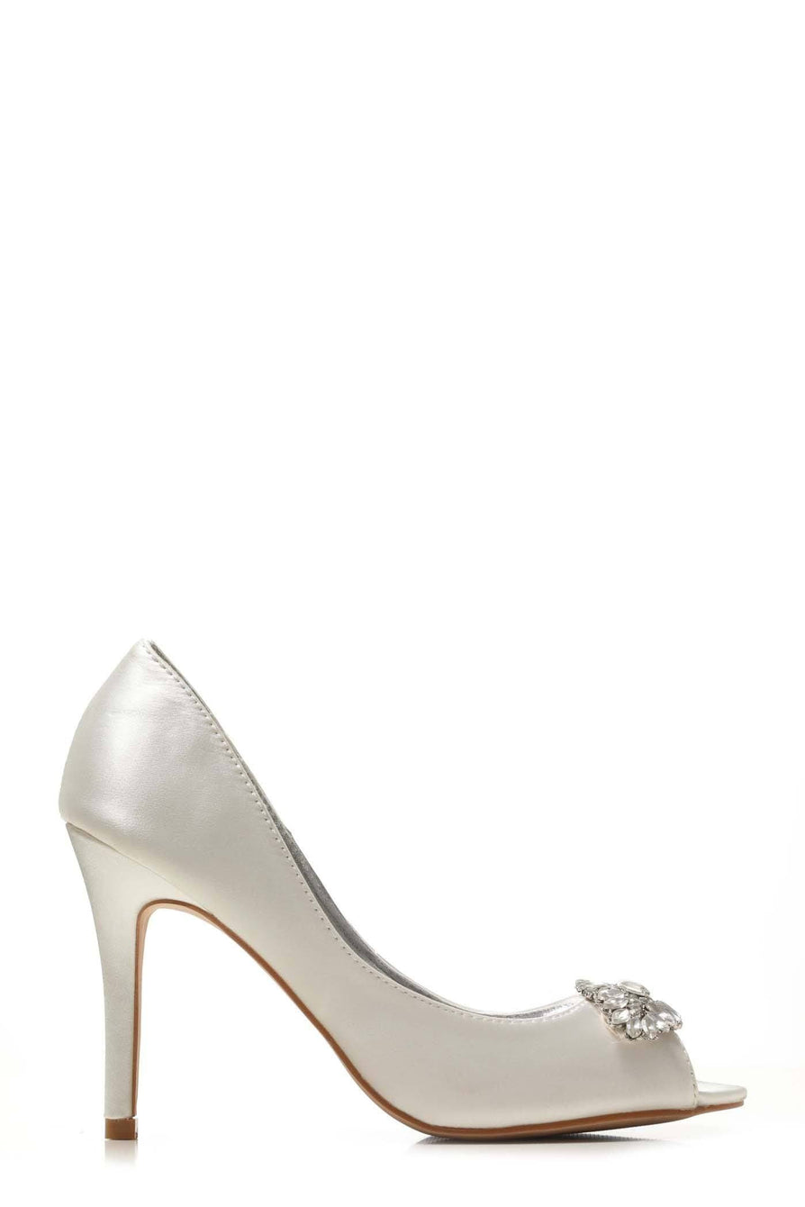 Shea shea diamante broach peep toe sandal in Ivory Satin Clearance Miss Diva Ivory Satin 3