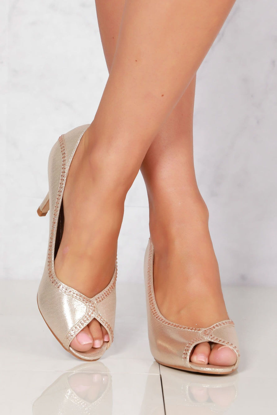 Bria slip on peep toe sandal in Gold