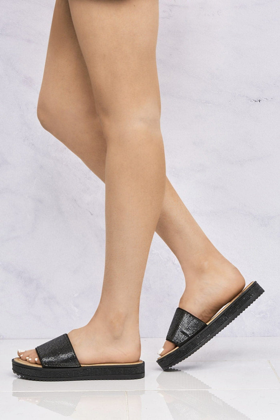 Naima Diamanté Band & Sole Slider in Black
