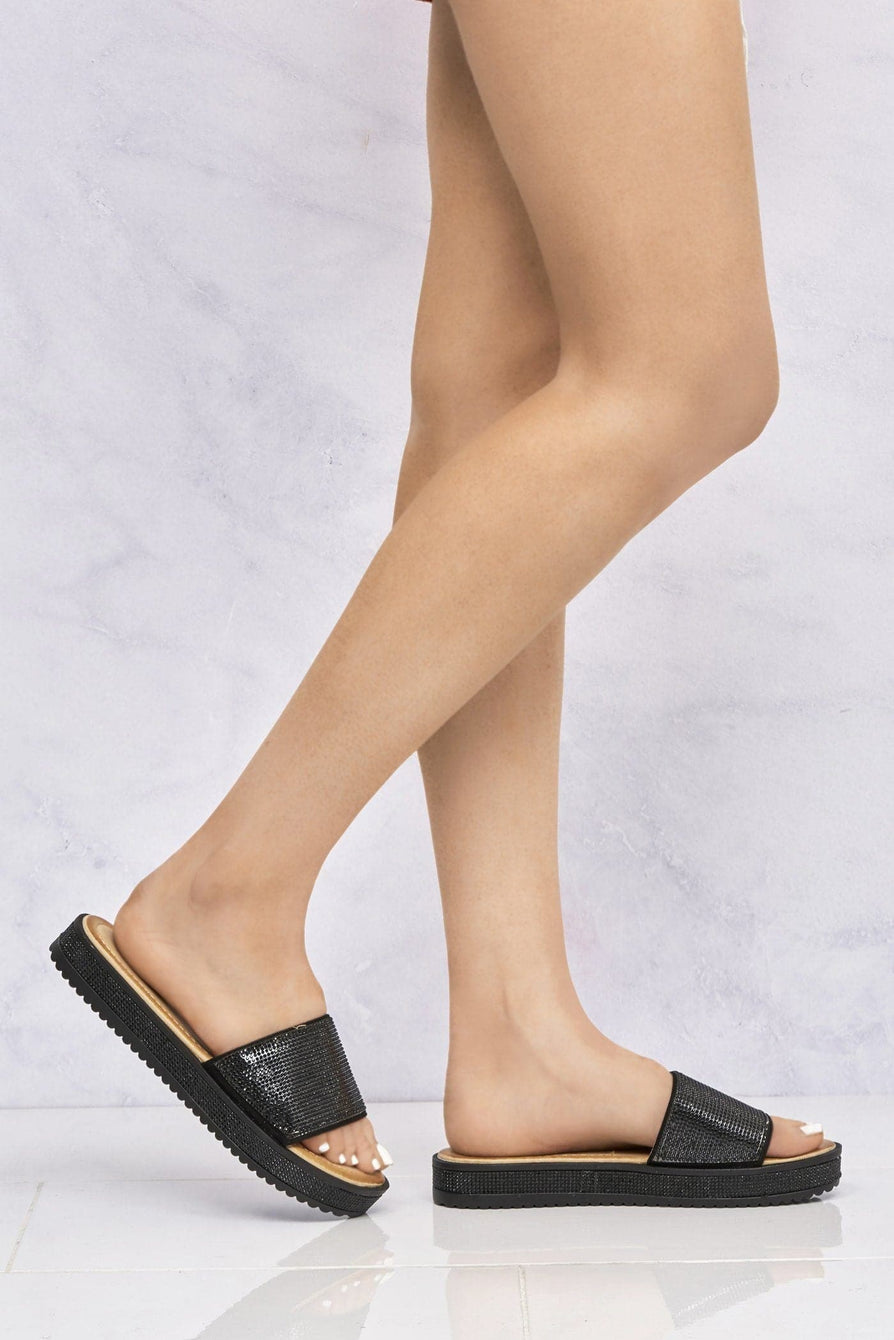 Naima Diamanté Band & Sole Slider in Black Clearance Miss Diva Black 3