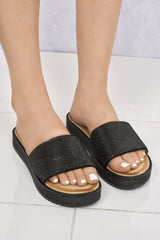 Naima Diamanté Band & Sole Slider in Black Clearance Miss Diva