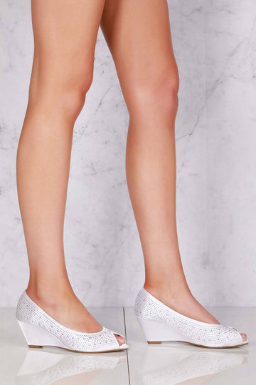 Emily peep toe diamante medium wedge in Ivory Satin Clearance Miss Diva