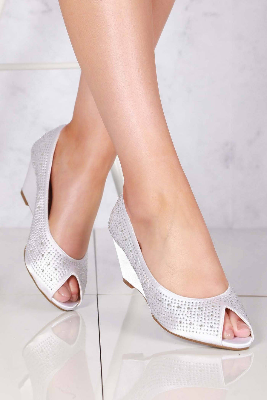 Emily peep toe diamante medium wedge in Ivory Satin