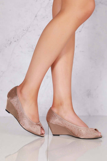 Emily peep toe diamante medium wedge in Mocha Satin