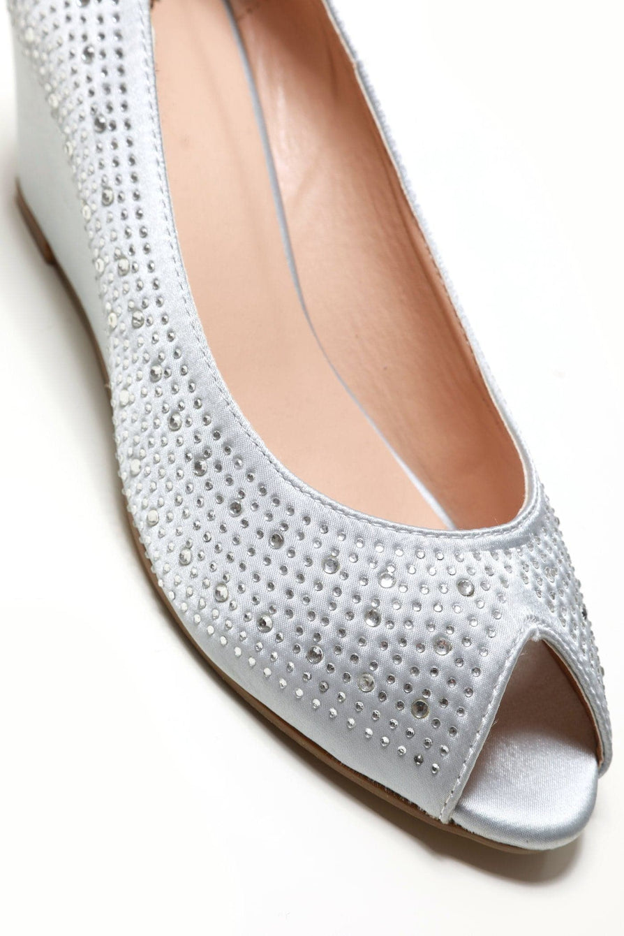 Emily peep toe diamante medium wedge in Silver Satin Clearance Miss Diva