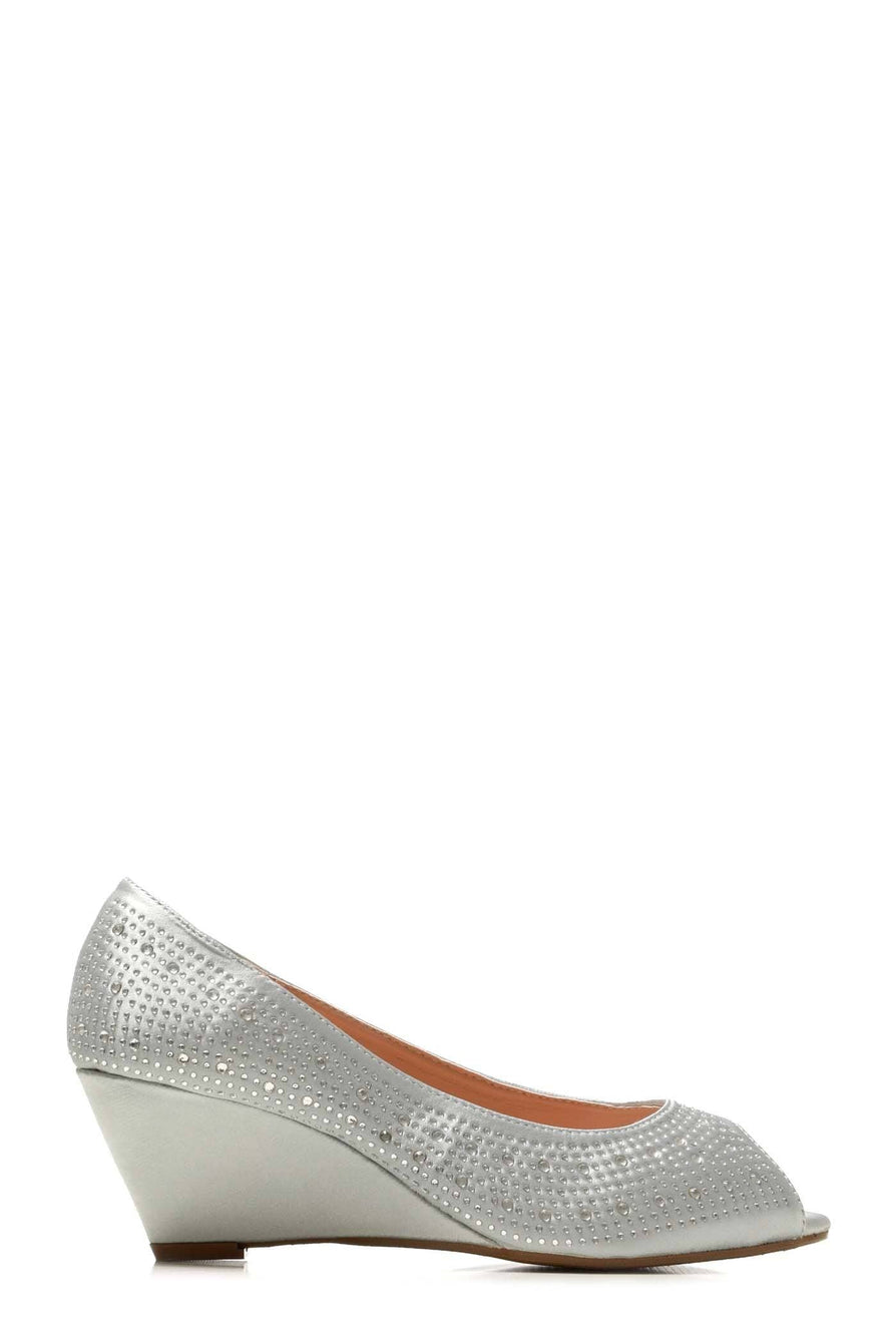Emily peep toe diamante medium wedge in Silver Satin Clearance Miss Diva SILVER SATIN 3
