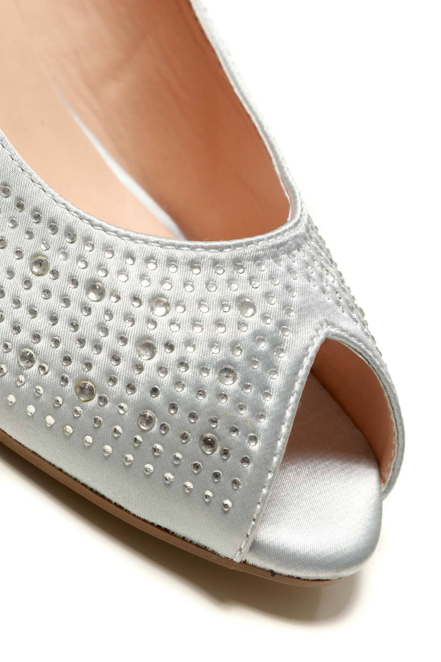 Emily peep toe diamante medium wedge in Silver Satin