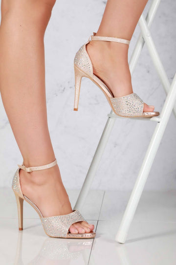 Garbo Anklestrap Diamante Sandal in Champagne